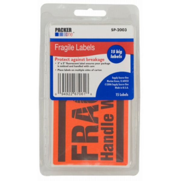 "Packer One™ SP-2003 Fragile Stickers Labels, 3"" x 5"", 25-Count"