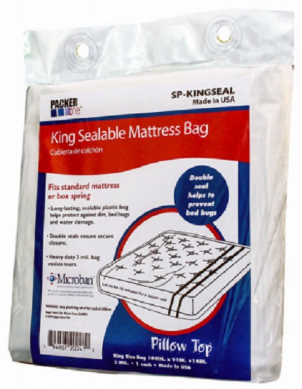 "Packer One™ SP-KINGSEAL King Sealable Microban Mattress Bag, 100"" x 91"" x 14"""