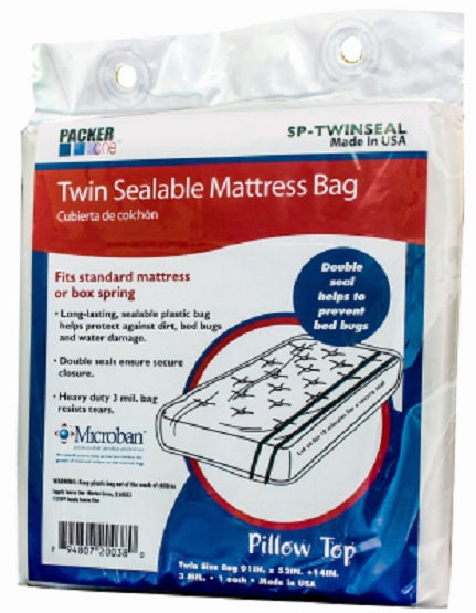 "Packer One™ SP-TWINSEAL Full Twin Sealable Microban Mattress Bag, 91"" x 52"" x 14"""