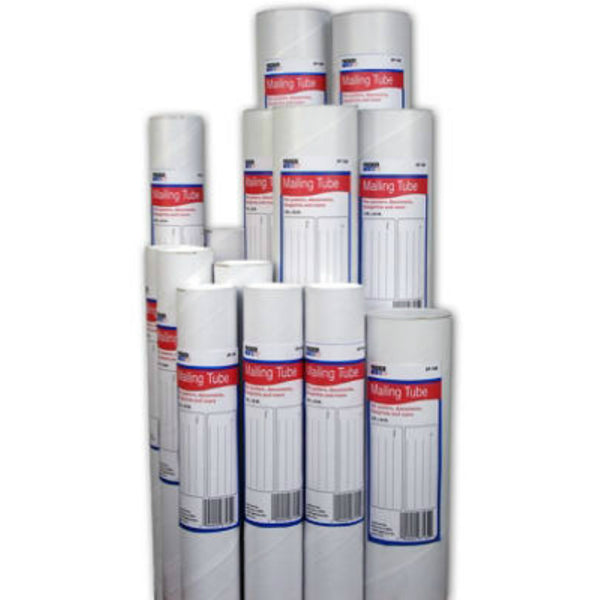 "Packer One™ 0746-150 Mailing Tube with White End Caps, 3"" x 24"", 1-Quantity"