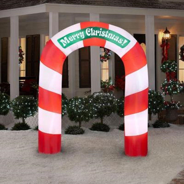 Gemmy® 36681 Airblown Merry Christmas Lighted Inflatable Candy Cane Archway, 90""