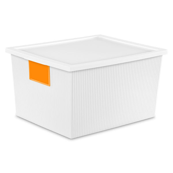 Sterilite® 14338006 White ID Box w/ Write-On Labels, 25 Qt