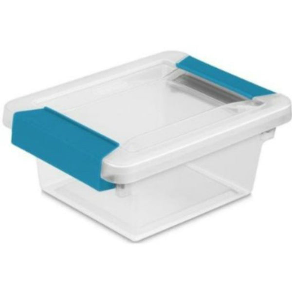 Sterilite 19698606 Clear Base Mini Clip Box with Blue Tight-Clasping Latches
