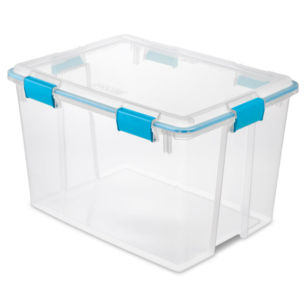 Sterilite® 19384304 Clear Base & Lid Gasket Box w/ Tight-Fitting Latches, 80 Qt