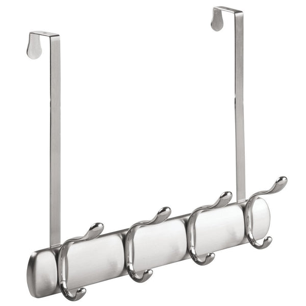 InterDesign® 31740 Over-The-Door Rack with 4 Hooks, Brushed Stainless w/ Chrome