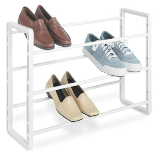Whitmor 6023-588 Stacking Shoe Rack, Holds 9-Pair, White