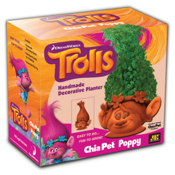 Chia Pets CP240-16 Handmade Trolls Poppy Decorative Clay Planter