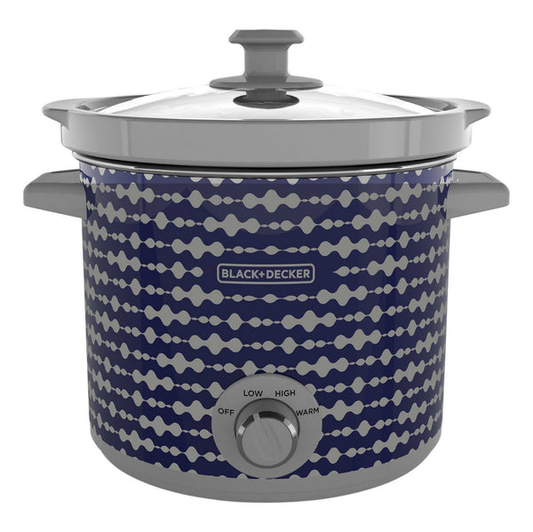 Black & Decker® SC2004D Stoneware Pot Modern Slow Cooker, Blue/Gray, 4 Qt