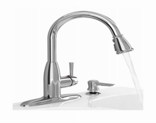 American Standard 9012.301.002 Mckenzie Chrome Pull Down Kitchen Faucet with Soap Dispenser