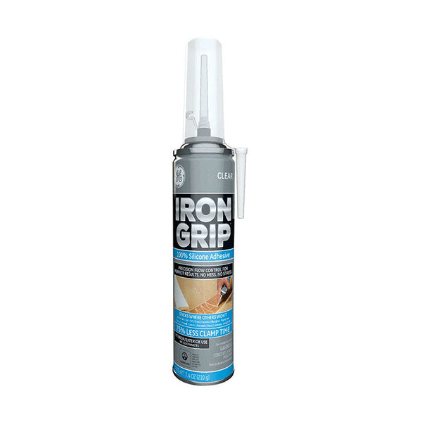 GE M90077 Point & Seal Iron Grip Adhesive Silicone, Clear, 7.4 Oz