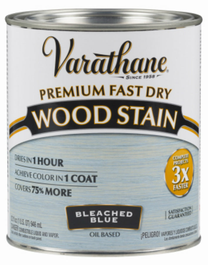 Varathane 297425 Premium Oil-Based Fast Dry Wood Stain, Bleached Blue, 1 Qt