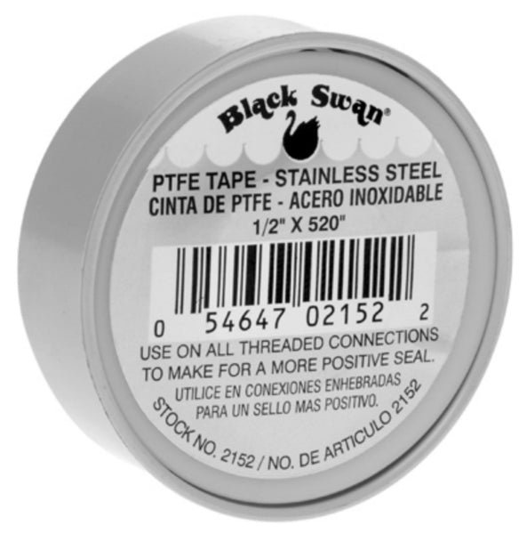 "Black Swan® 02152 PTFE Stainless Steel Thread Tape, Gray, 1/2"" x 520"""