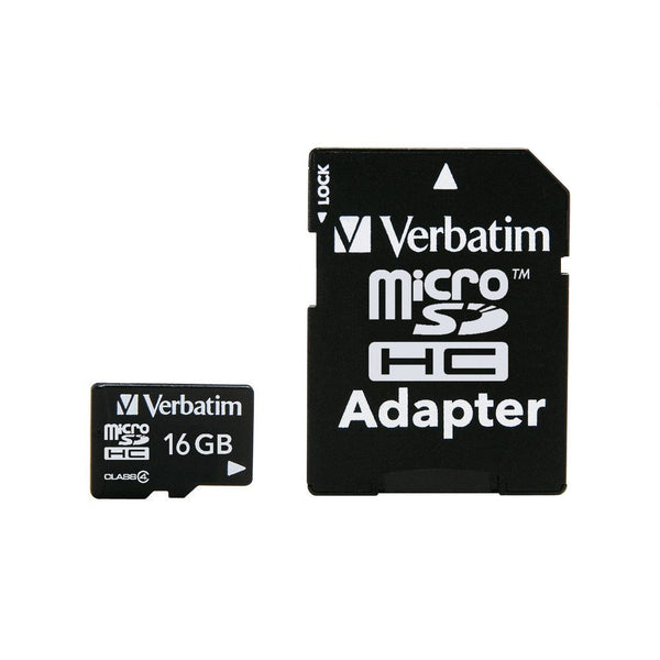 Verbatim® 97180 MicroSDHC Memory Card with Adapter, Class 4, 16GB