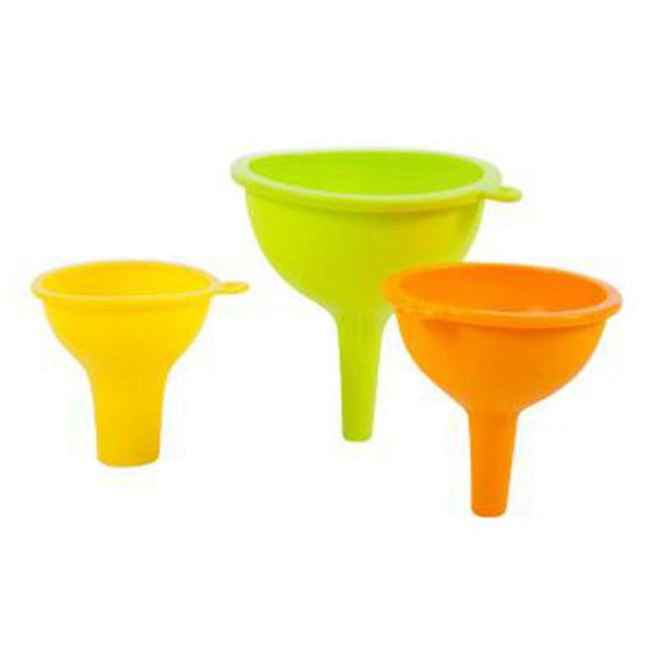 Core Kitchen™ 10639-TV Small/Medium/Large Silicone Funnel, Assorted Colors, 3-PC