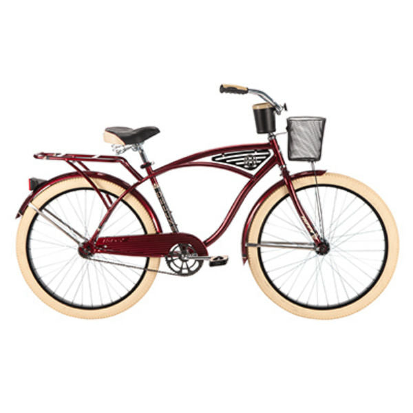 Huffy 26647  Deluxe™ Men's Cruiser Bike w/ Wire Basket, Dark Brandywine, 26""