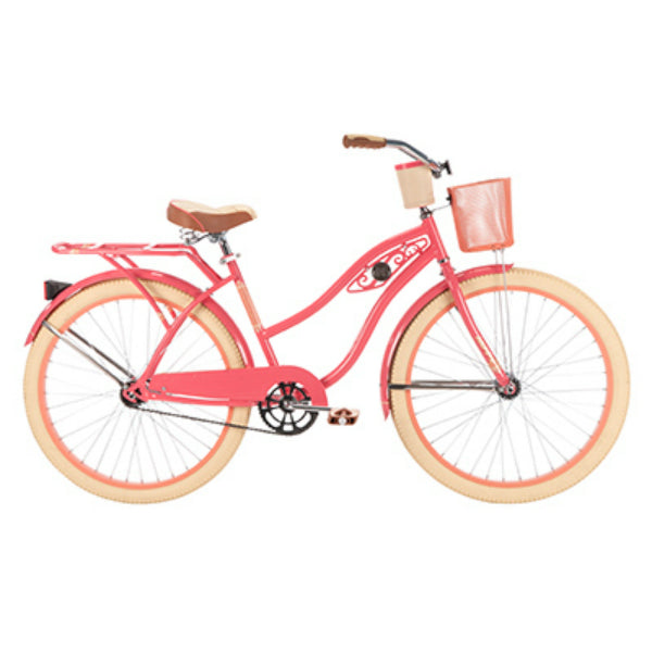 Huffy 26657  Deluxe™ Women's Cruiser Bike w/ Wire Basket, Coral Radiance, 26""