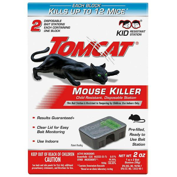 Tomcat® 0371510 Child Resistant Mouse Killer with Disposable Station, 2 Pack
