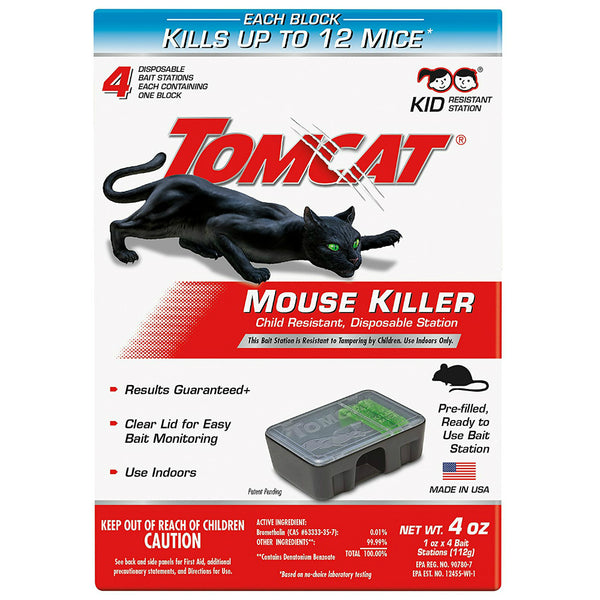 Tomcat® 0371610 Child Resistant Mouse Killer with Disposable Station, 4-Pack