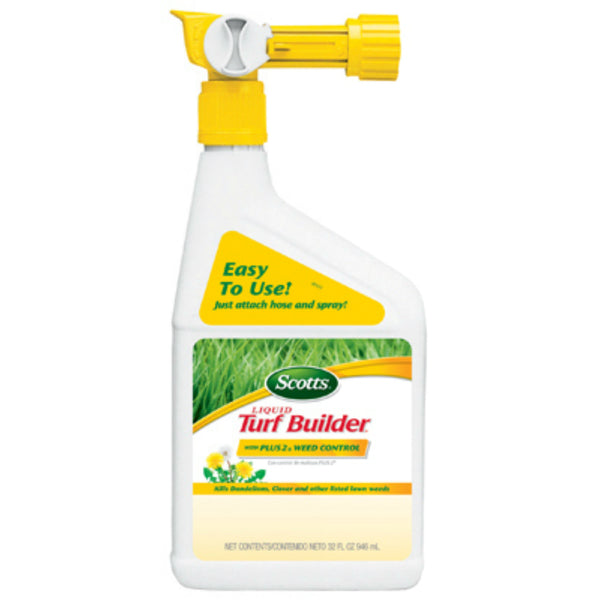 Scotts® 5621106 Liquid Turf Builder® Spray w/ Plus 2 Weed Control, 25-0-2, 1 Qt