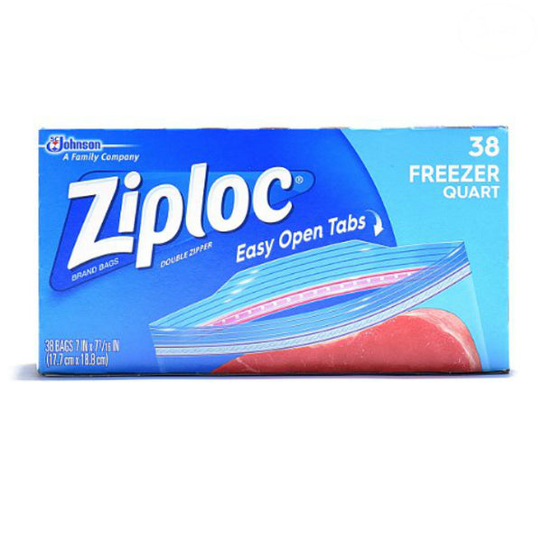 Ziploc® 00381 Freezer Bags with Smart Zip Plus® Seal, 1 Qt, 38 Count