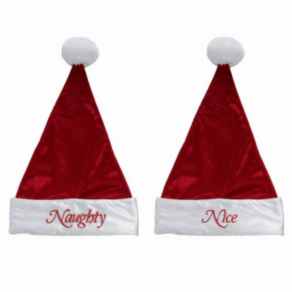 Dyno Seasonal 0470053-3CC Red Velvet Santa Hat w/ Naughty & Nice Message, 7""
