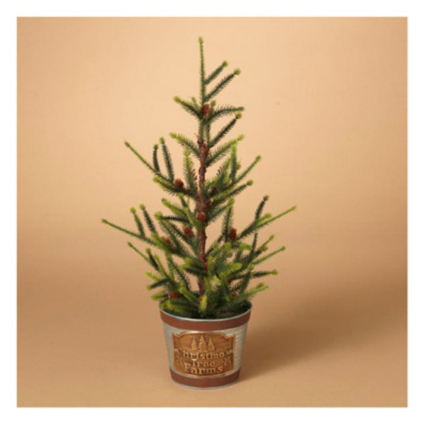 Gerson 2275200 PVC Tree in Christmas Tree Farms Container, 18""