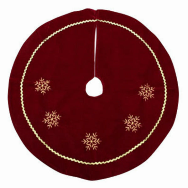 Dyno 2243210-1CC Red Velvet Tree Skirt with White Embroidered Snowflakes, 24""