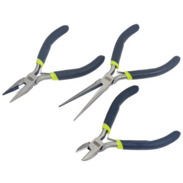 Master Mechanic 213194 Mini Pliers Set with Cushion Grip Handles, 3-Piece