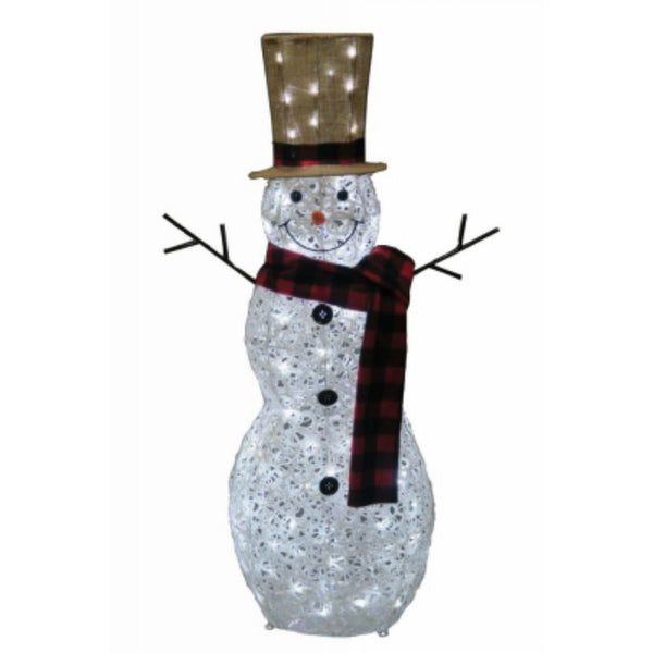 Holiday Wonderland 57-424-087 Glittering Swirl PVC Snowman with Top Hat, White
