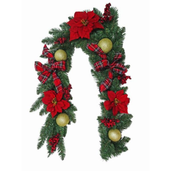 Holiday Wonderland 28-SHR00210S Decorated PVC Garland with Plaid Bow, 6'
