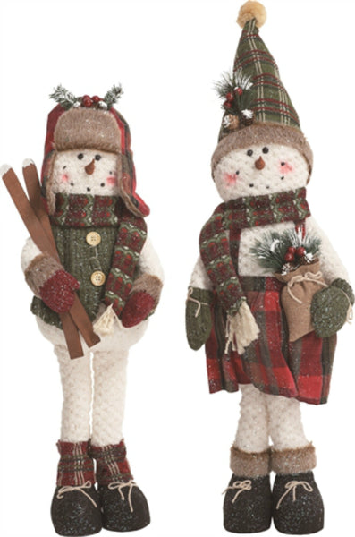Transpac X9392 Plaid Plush Standing Snowman, Assorted Styles, 28""