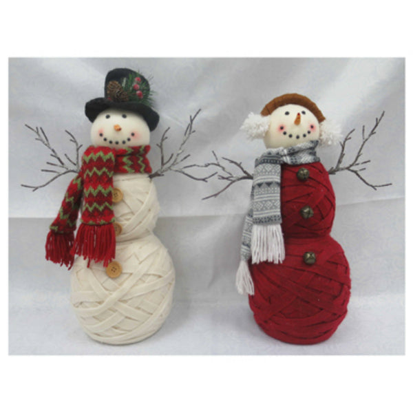 The Christmas House 920053 Happy Snowman Figure, 3D, Fabric, 18""