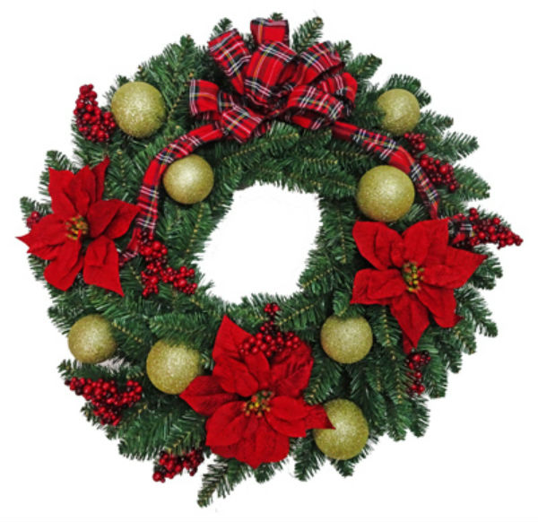 Holiday Wonderland 28-SHR00208S PVC Wreath with Red Plaid Bow, 30""
