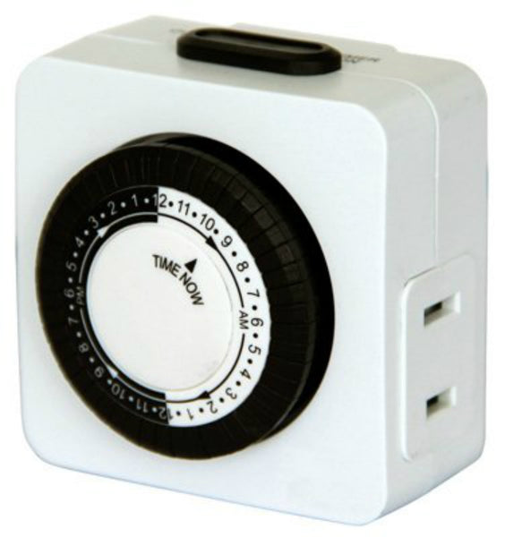 Southwire 59428TV Indoor 24-Hour Mechanical Timer with 2-Outlets, 125V