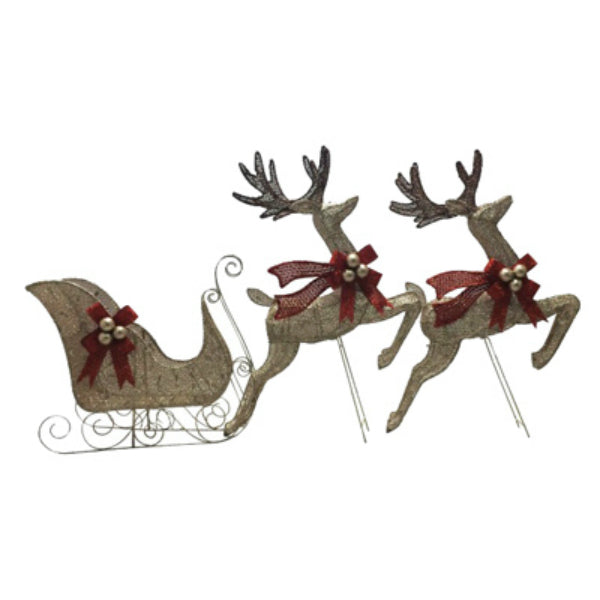 Holiday 218-DE7167C Mesh Sleigh & 2 Deer w/Red Bow & 100 Clear Lights, Champagne