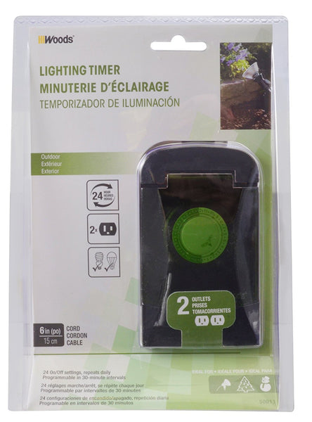 Woods® 50011 Outdoor 24-Hour Mechanical Outlet Programmable Timer