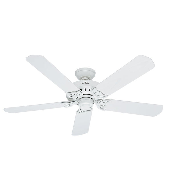 Hunter Fan® 53125 Bridgeport™ Outdoor Ceiling Fan w/ 5 Plastic Blades, White, 52""
