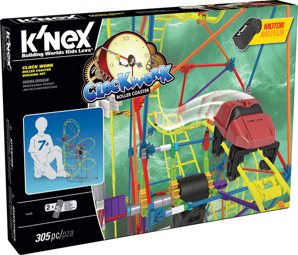 K'NEX® 15406 Clock Work Roller Coaster Building Set for Ages 7+, 305-Pieces