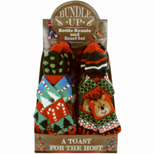 Bundle Up X-BWEAR Christmas Bottle Wear Beanie Hat & Scarf Set