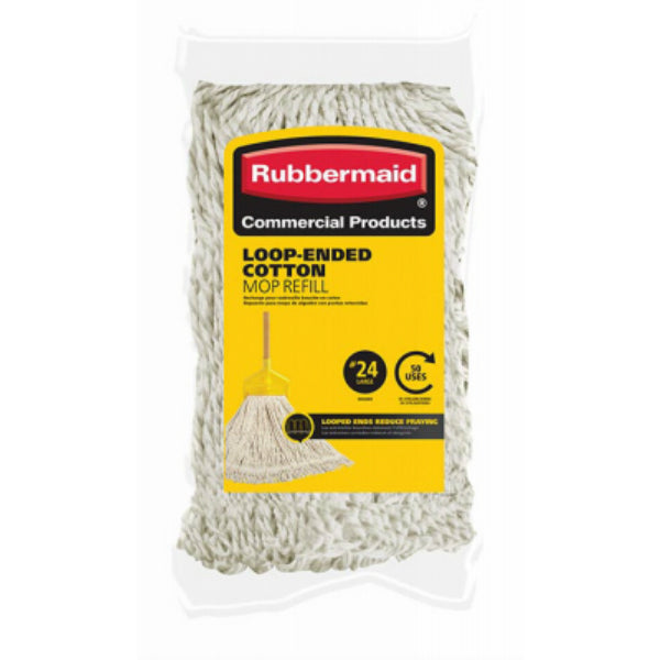 Rubbermaid® Commercial 1785060 Looped-End Cotton Mop Refill, #24