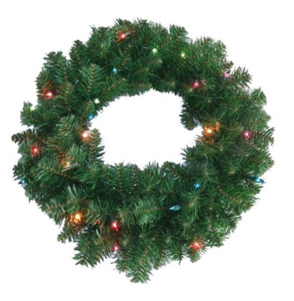 Holiday 236-W7130-24M025 PVC Artificial Wreath w/120 Tips & 25 Multi Lights, 24""
