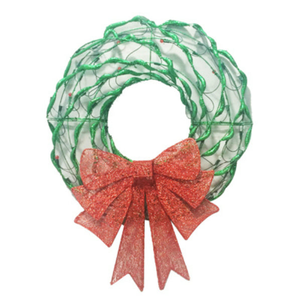 Holiday 218-DE7002L Artificial Tube Wreath w/ Bow & 80-LED Lights, Green & Red