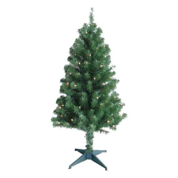 Puleo 236-T7132-40C1 PVC Artificial Christmas Tree 4', Green, 100 Clear Lights