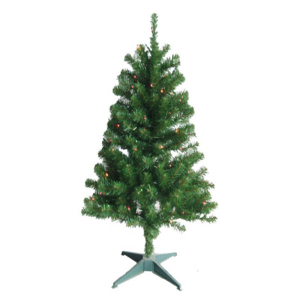 Puleo 236-T7132-40M1 PVC Artificial Christmas Tree 4', Green, 100 Multi Lights