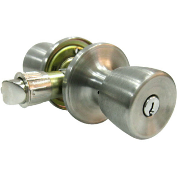 Tru-Guard TS600B-MH-KA2 Tulip Style Knob Home Entry Lockset, Stainless Steel