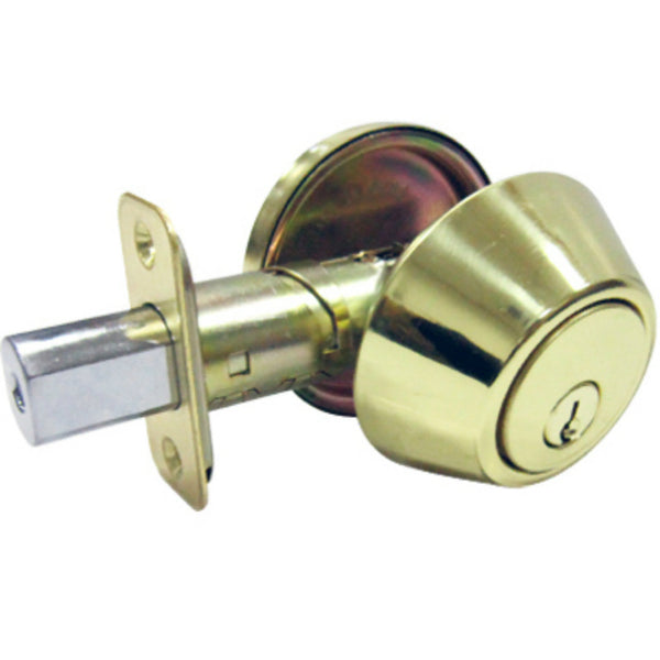 Tru-Guard DL71-KA3Z Single Cylinder Deadbolt w/ 5 Pin Cylinder, Polished Brass