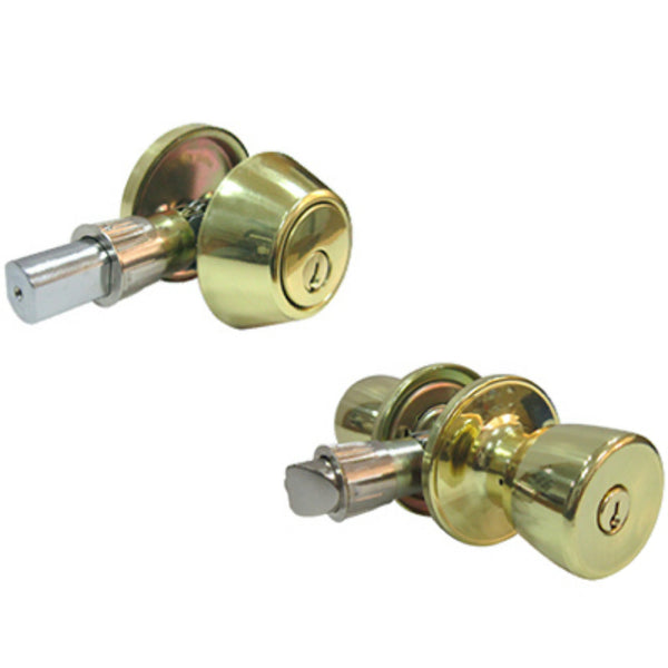 Tru-Guard BS7L1B-MH-KA2 Keyed Entry Lockset & 1-Cylinder Deadbolt, Polish Brass