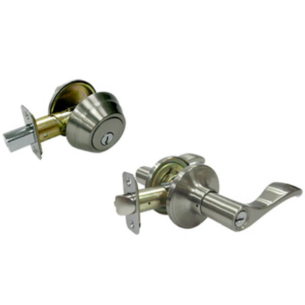 Tru-Guard MYEX2B71B Naples Entry Lever Combo Lock Pack, Satin Nickel