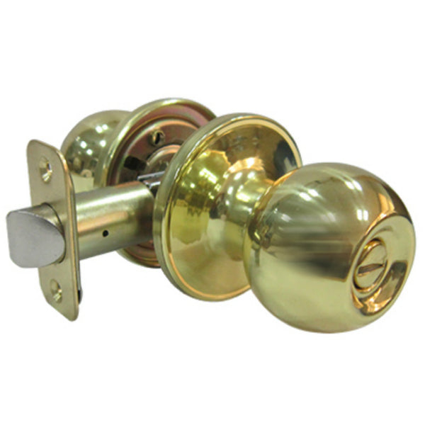 Tru-Guard T3710B Ball Knob Style Privacy Lockset for Bed & Bath, Polished Brass