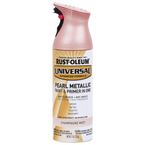Rust-Oleum® 301537 Universal® Pearl Metallic Spray Paint, Champagne Pink, 11 Oz
